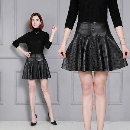 64c62966daa8a Leather Pleated Skirt Sheepskin Openwork Leather Skirt K61-in Skirts ...