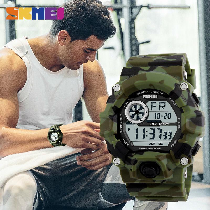 Prix pour SKMEI Militaire Numérique Montres Hommes Montre LED Rétro-Éclairage Choc Sport Montres Hommes Camo Armée Montres Alarme Étanche Horloge