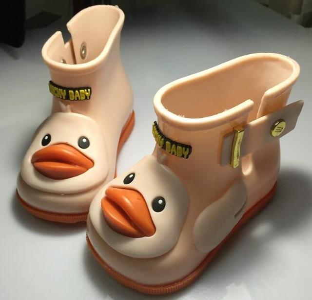 3 colores de los niños pato lindo lluvia botas niños y niñas antideslizantes bebé shoes rainboots chanclos impermeables para niños de goma