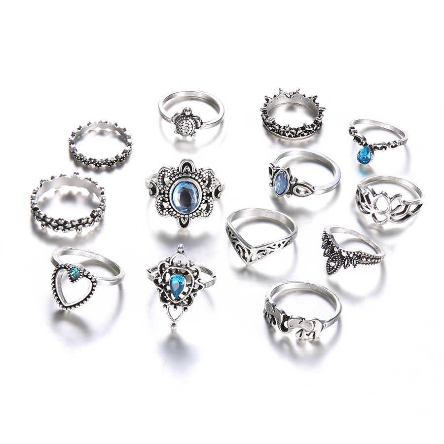 Jewdy boho retro cristal do vintage geometria anéis conjunto para a mulher flor prata cor anel moda acessórios conjuntos de jóias