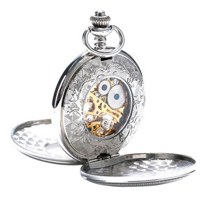 Image 5 - Elegant Hollow Roman Silver Double Shielded Mechanical Pocket Watch For Men Women With Chain Clock Drop Shipping