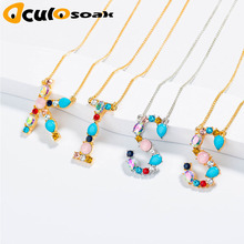 Wholesale multicolor fashion CZ charm Gold 26 Alphabet letter pendant necklace micro pave zircon initial necklaces
