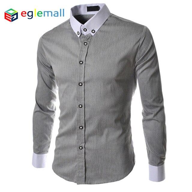 fd7523a33f1 2015 New Brand Mens Dress Shirts Long Sleeve Casual Shirt Men Slim Fit  Design Formal Shirt