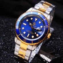 Hk Célèbre Marque De Luxe Bracelet En Acier Inoxydable Analogique Affichage de la Date Hommes de Quartz Occasionnel Horloge Hommes Montres de Sport relogio masculino