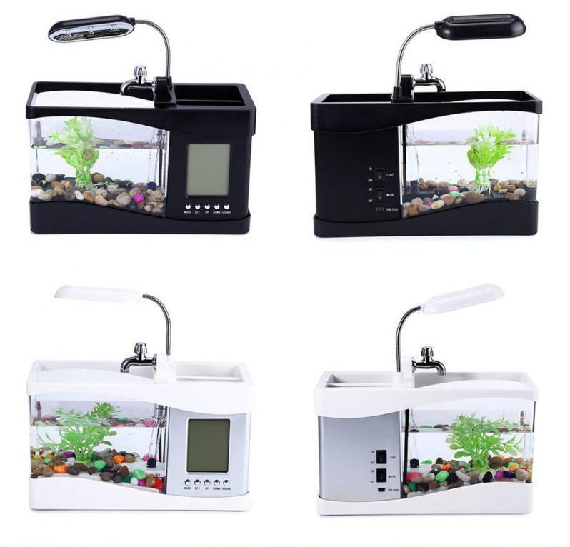 USB Mini Aquarium Aquarium Aquarium bureau électronique réservoir de poissons décoration avec de l'eau en cours d'exécution LED pompe lumière calendrier horloge blanc et noir - 2
