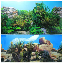 60 50 40 30CM High Double Sided Aquarium Background Poster Rock Fish Tank Decorative Wall Backdrop Picture Decor Glossy(China)
