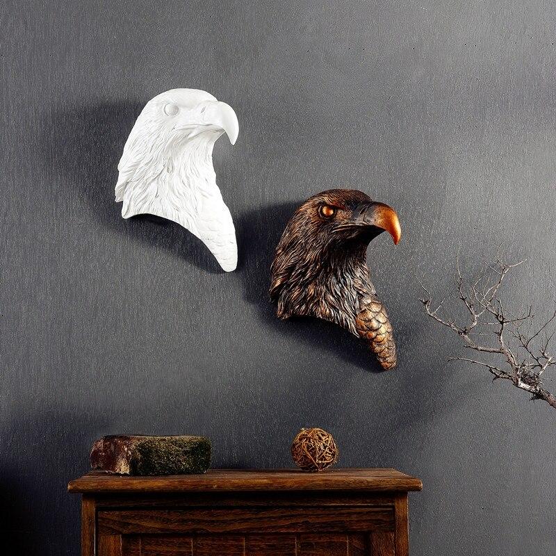 레트로 독수리 3d 머리 크리 에이 티브 수지 동물 머리 독수리 벽 장식 벽 장식품을 매달려 크리스마스 장식 최고의 선물-에서피규어 & 미니어처부터 홈 & 가든 의  그룹 1