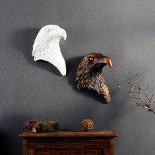 Retro Eagle 3D Head Creative Resin Animal Head Eagle Wall Decoration Wall Hanging Ornaments Christmas Decor Best Gift