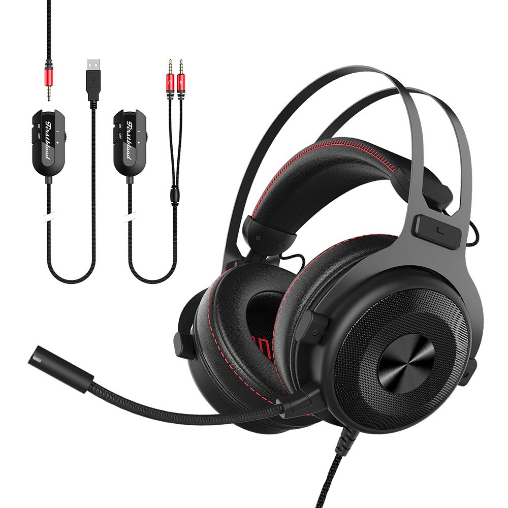 Original Ajazz The one Over-Ear 7.1 Sound 53mm Drive Gaming Headset with PU Leather Soft Ear Pad Multifunction On-cord Control
