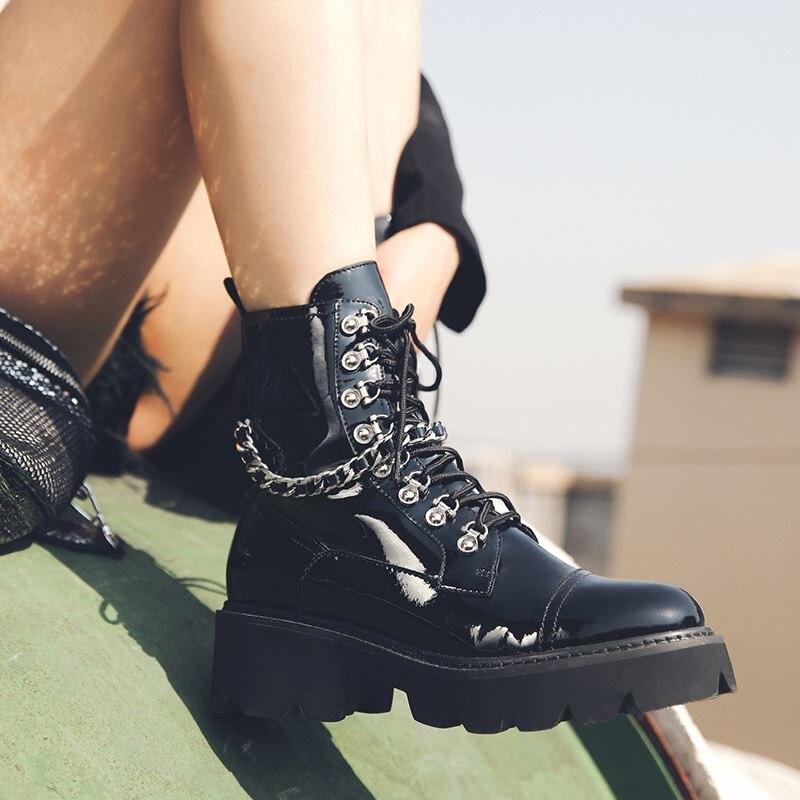 ALLBITEFO الطبيعي جلد طبيعي النساء الأحذية موتوسيكلات الأحذية الخريف الشتاء وسيم الفتيات حذاء من الجلد عالية الجودة-في أحذية الكاحل من أحذية على  مجموعة 3