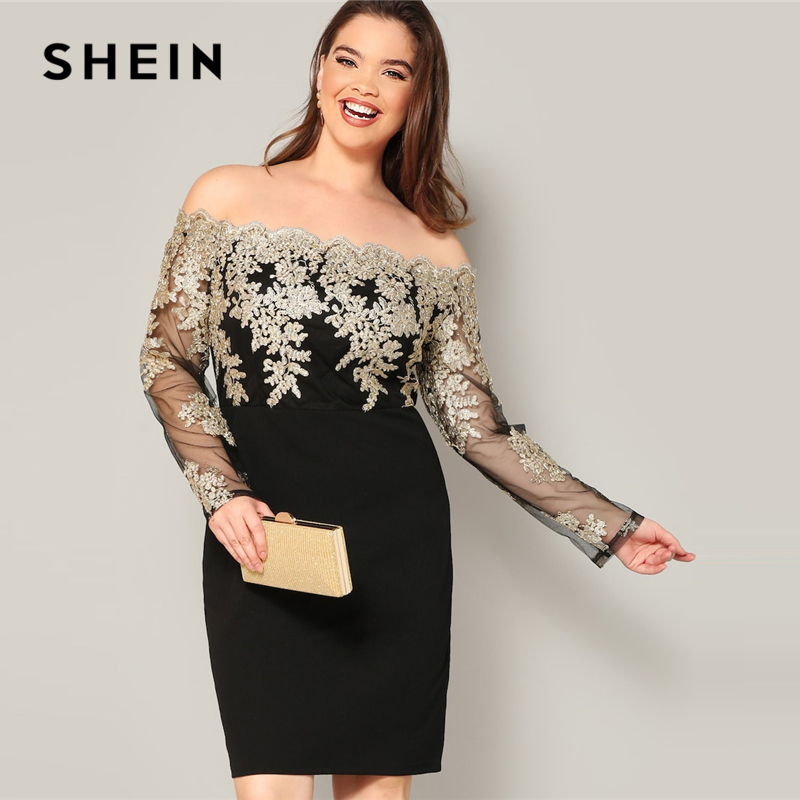 US $21.33 49% OFF|SHEIN Glamorous Plus Size Black Embroidered Contrast Mesh  Bodice Pencil Sheath Dress Women Spring Off the Shoulder Dress-in Dresses  ...