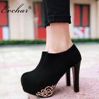 New Fashion Women Pumps Sexy Round Toe Thick High Heels Shoes Woman Spring Autumn Side Zipper