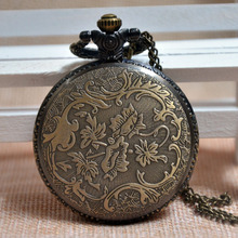 Retro Antique Classic Style Chinese Zodiac Chicken Embossed Quartz Pocket Watch Analog Pendant Necklace Mens Womens Gifts A287