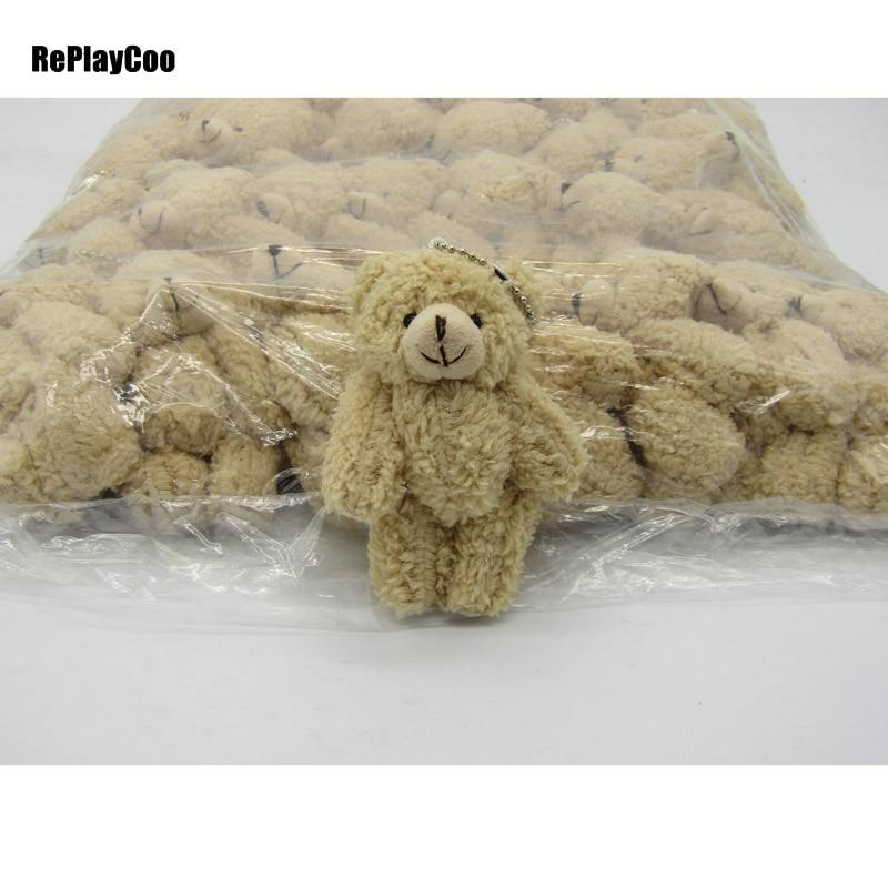 50PCS LOT Kawaii Small Joint Teddy Bears Stuffed Plush With Chain 12CM Toy Teddy Bear Mini