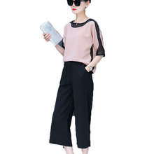 Korean Fashion new chiffon blouse top & wide-legged pants two-piece clothing set women vestido lady outfit summer size S-XXL