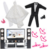 E TING Fashion Doll Clothes Playset White Sequined Long Wedding Dress Ken Black Tuxedo For Barbie