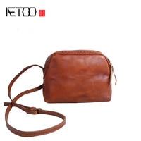 AETOO Women Handmade Handbags Leather Retro Mini Shoulder Messenger Bag Cowboy Arts Small Bag
