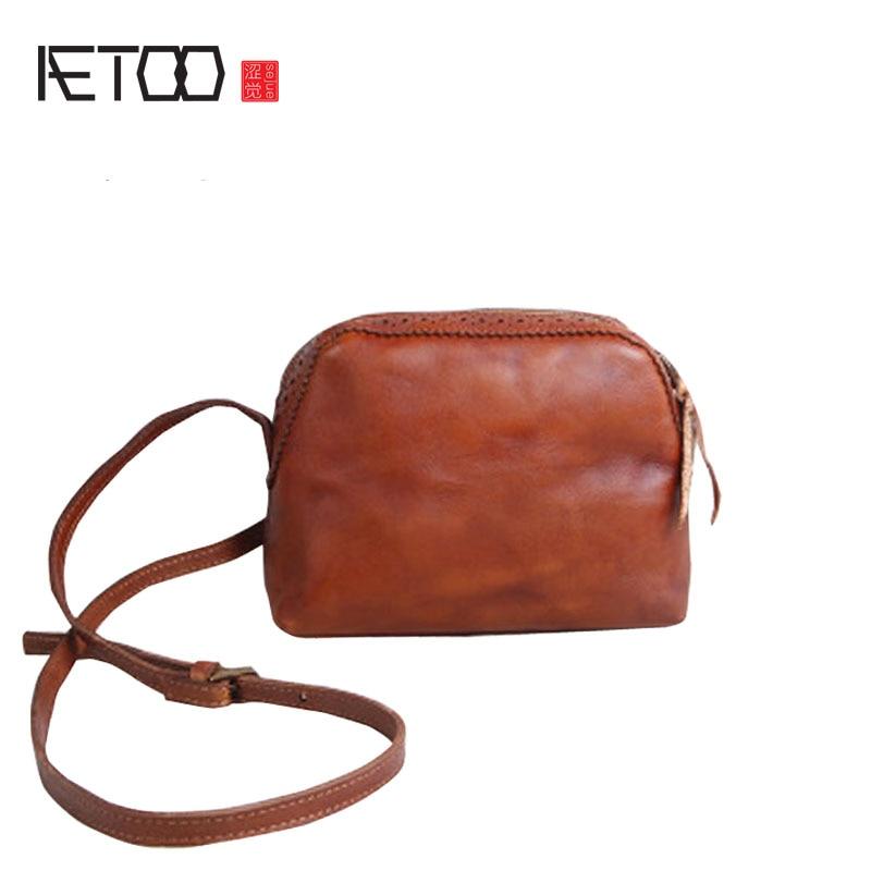 AETOO Women Handmade Handbags Leather Retro Mini Shoulder Messenger Bag Cowboy Arts Small Bag cowboy small page 10
