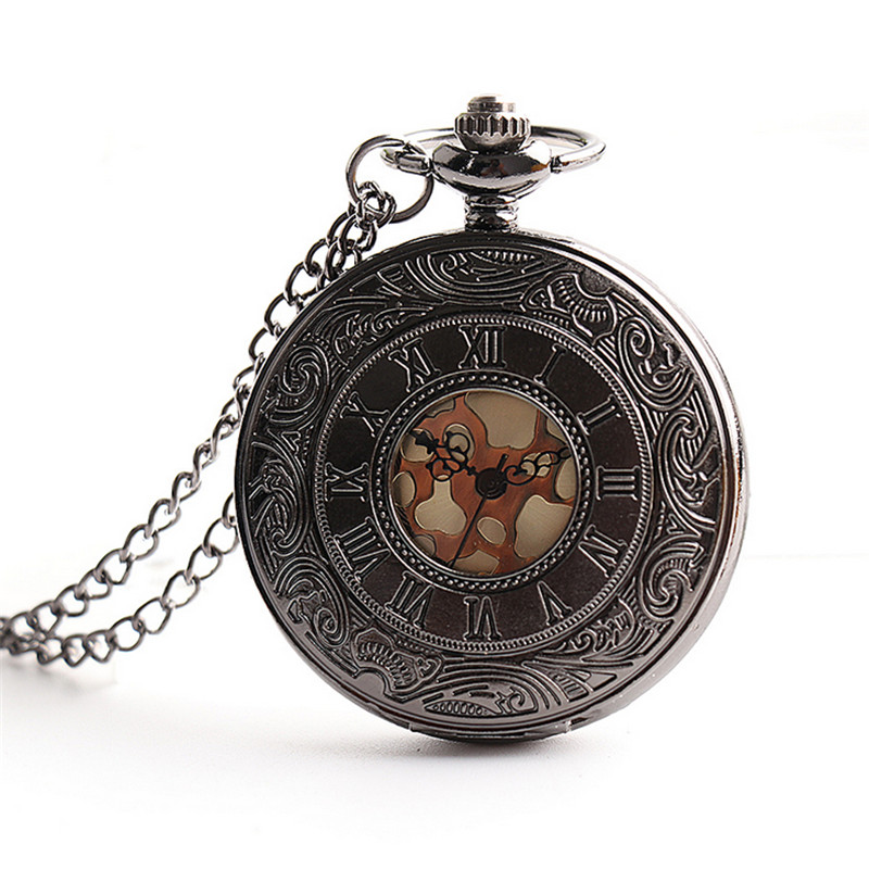 Vintage Charm Black Unisex Fashion Roman Number Quartz Steampunk Pocket Watch Pocket & Fob Watche Chain Male Clock with Chain