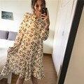 Ocasional estampa floral chiffon dress senhoras auto tie manga comprida teste padrão de flor primavera dress túnica dress