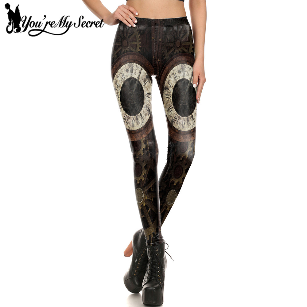 [You're My Secret] New Fashion Design Women   Leggings   Steampunk Gear leggin 3D Print Retro Mechanical Cosplay Fitness Women Pant