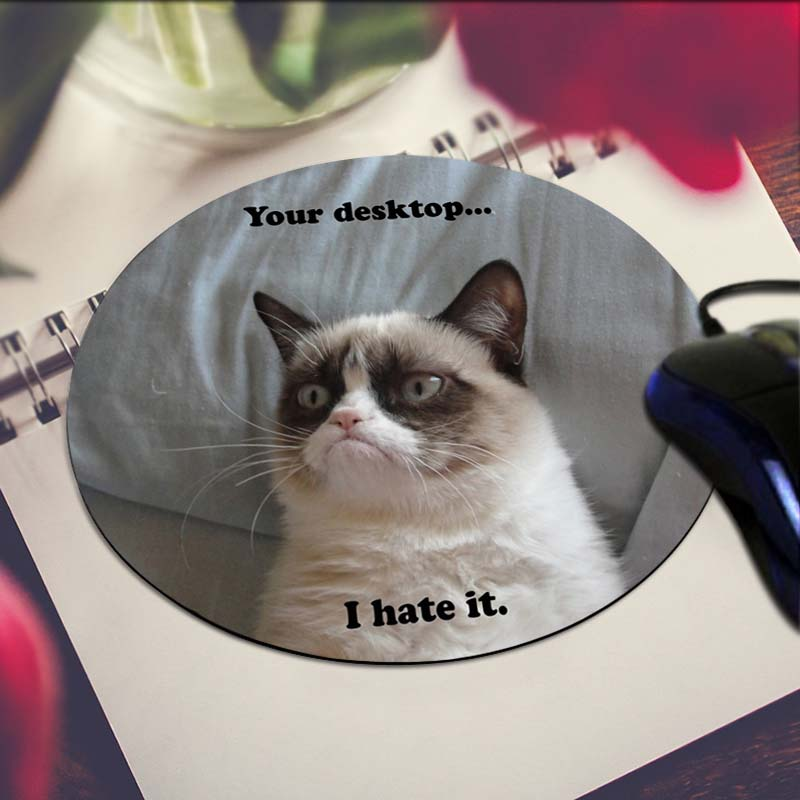 Grumpy Cat Tard Animals Cats Art Print Mouse Pad Anti-Slip Round Mousepad Gift Gaming Speed Mice Mats