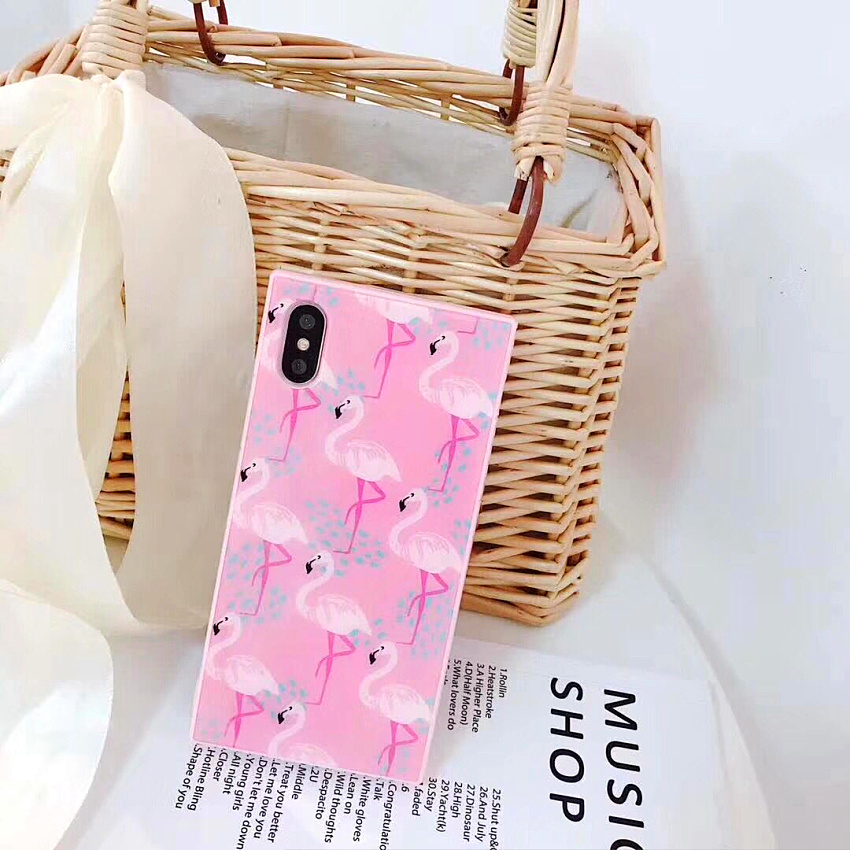 Luxury Pink Flamingo Square Case For iphone 7 Silicone Back Cover for iphone 8 8plus 7 7 ...