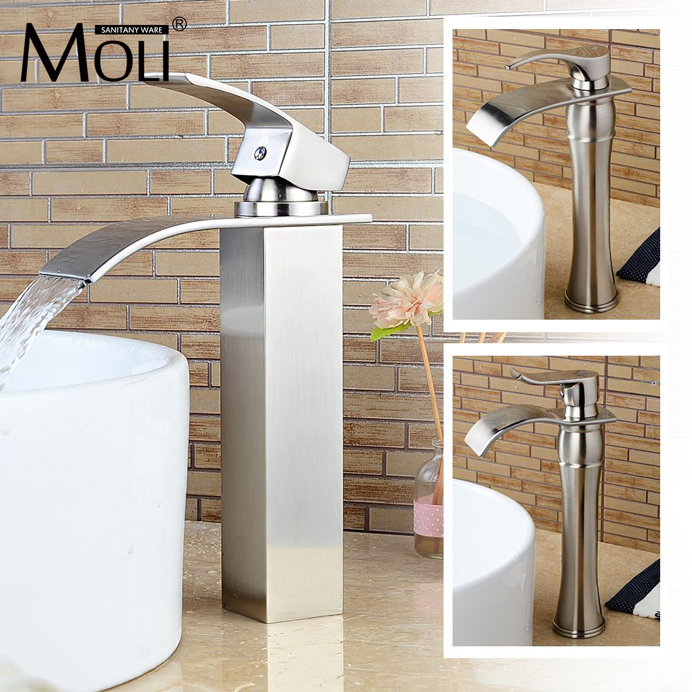 Brushed nickel tall basin faucet soild brass waterfall bathroom mixer single hole hot and cold water tap free sipping wall mounted dual handle waterfall basin faucet brushed nickel hot and cold wash basin mixer taps