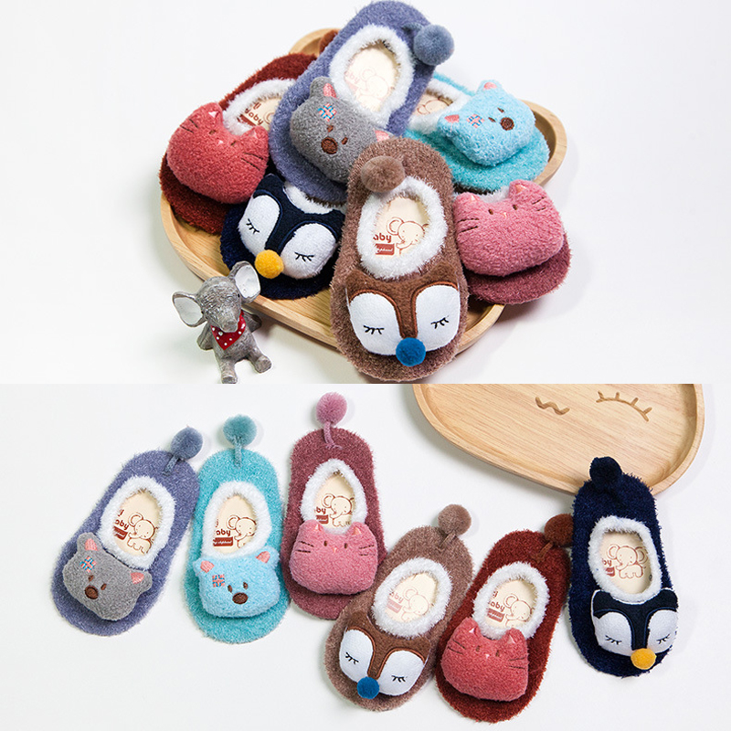 Cute Newborn Shoes Baby Kids Toddler Anti Slip Shoes New Autumn Winter Cartoon Slipper Floor Socks Boots Baby Socks цены онлайн