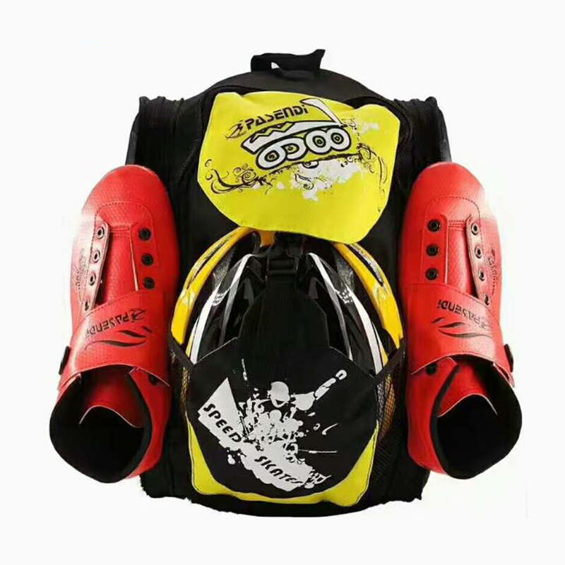 Inline Speed Skates Shoes Backpack for 4X110mm Wheels size Maximum Red Yellow Black Skate Container Skating
