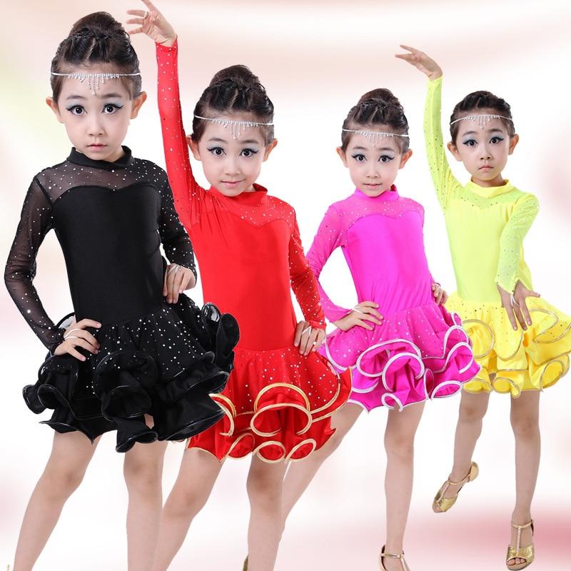 4be897d01 Long Sleeve Children Latin Dance Dress Kids Ballet Dancing ...