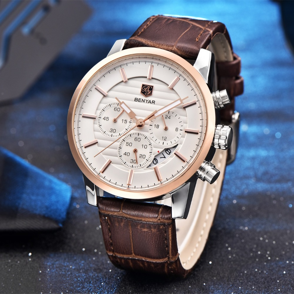 BENYAR Luxury Brand Fashion Chronograph Sport Watches Reloj Hombre Military Leather Quartz Watch Clock Men Relogio Masculino luxury brand casima men watch reloj hombre military sport quartz wristwatch waterproof watches men reloj hombre relogio