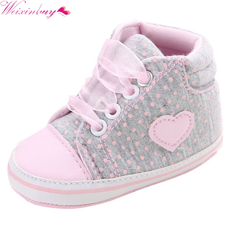Klassisk Casual Baby Sko Toddler Nyfødte Polka Dots Baby Girls Autumn Lace Up First Walkers Sneakers Sko