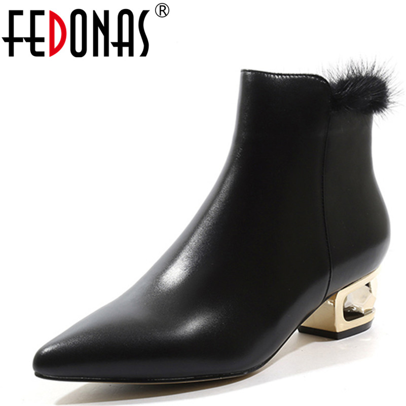 FEDONAS Fashion Women Ankle Boots Genuine Leather Autumn Winter Warm High Heels Shoes Pointed Toe Brand Shoes Woman Party Pumps rv 231 фигурка рыцарь сэр уильям w stratford