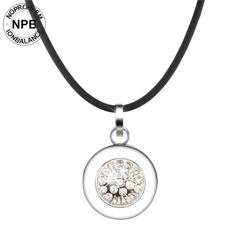 Noproblem 029 Best negative ion health power therapy round pendant crystal tourmaline germanium necklaces