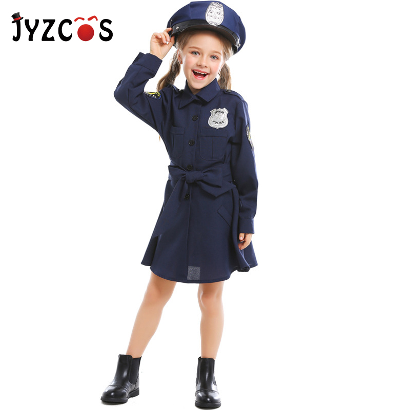 JYZCOS Girls Cop Police Officer Costume Halloween Costumes for Kids Policemen Cosplay Uniform Children Carnival Costume image