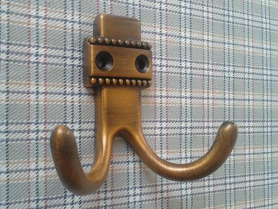 Wall Hook Antique Brass Coat Hangers Rack Hooks Metal Double