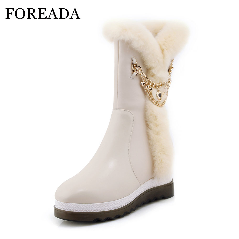 FOREADA Genuine Leather Winter Snow Boots Women Real Fur Mid-Calf Boots Plush Warm Boots Chain Platform Wedges High Heel Shoes prova perfetto winter women warm snow boots buckle straps genuine leather round toe low heel fur boots mid calf botas mujer