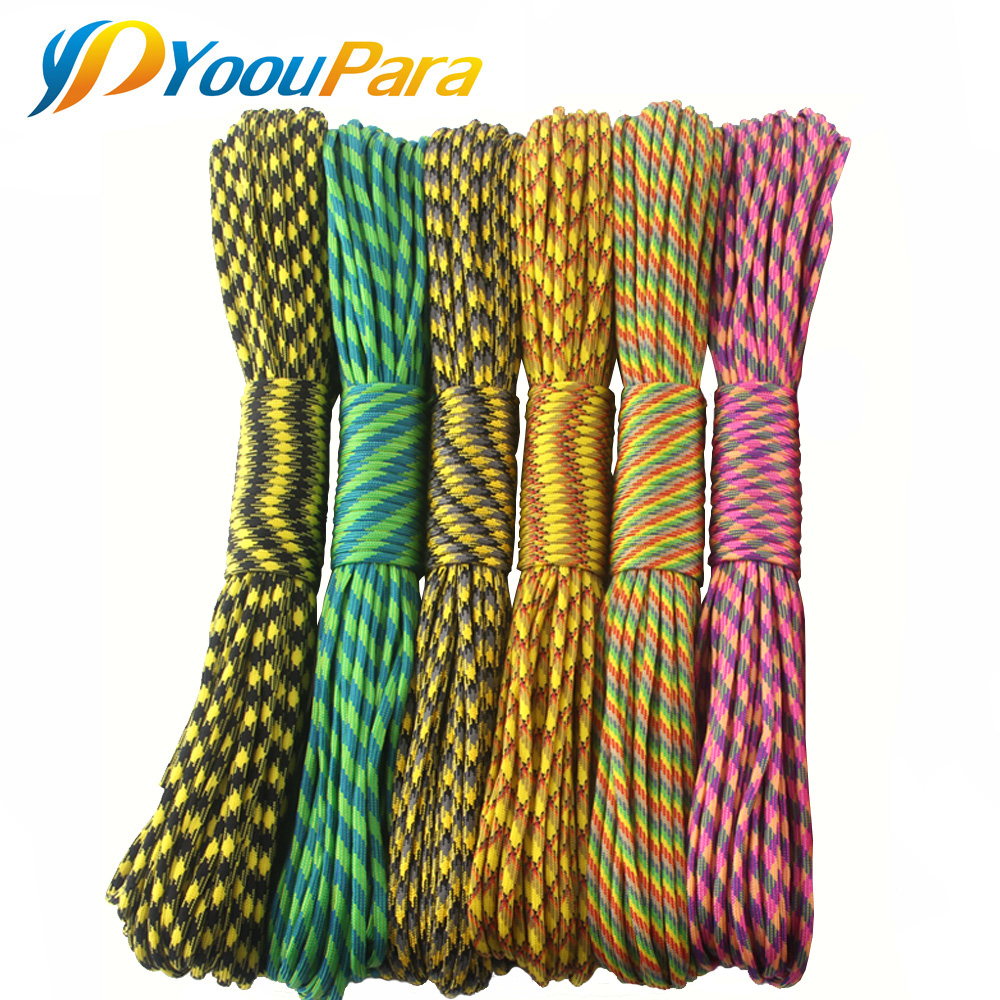 YoouPara 15 Pcs Lot Paracord 100 Feet 252 Colors 550 Parachute Cord Lanyard Rope Type III