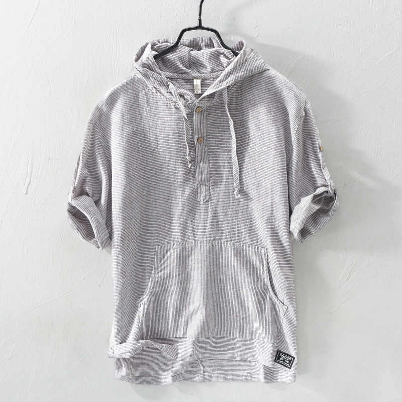 Summer Fashion Men Shirts Hooded Collar Half Sleeve Shirts Men Linen Cotton Fabric Japanese Style Casual Tee Shirt camisa hombre