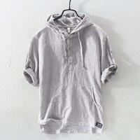 Летние модные мужские рубашки с капюшоном воротник половина рукава рубашки Для мужчин льняная хлопчатобумажная ткань японский Стиль повсе...