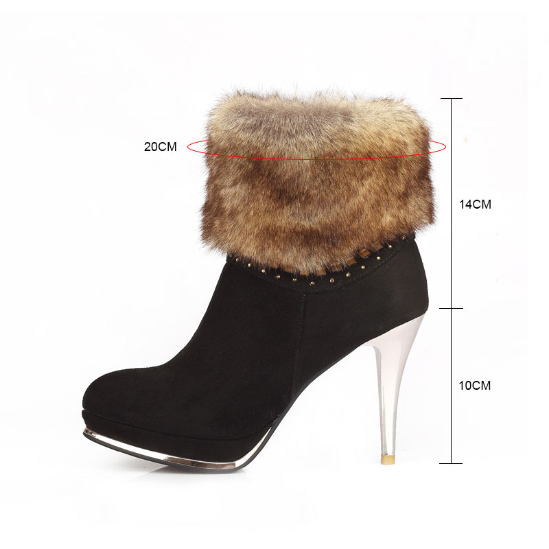 1ae2f1fe4d9c warm fur Women Ankle Boots High Heels Pointed Toe Winter Boots With Fur  zipper Shoes Woman Winter