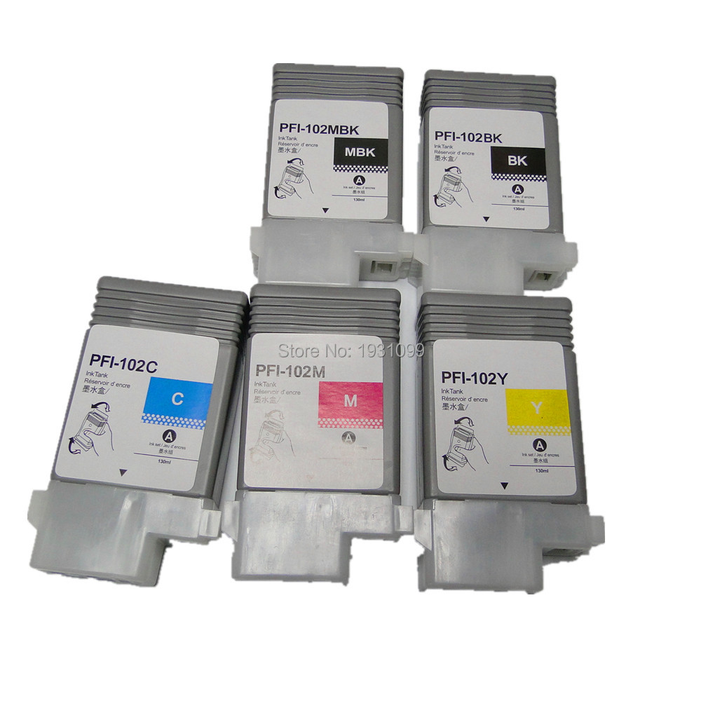 5pcs Empty refillable ink cartridge for canon pfi 102 pfi-102 pfi102 for canon IPF 500/510/600/610/700/710 refillable color ink jet cartridge for brother printers dcp j125 mfc j265w 100ml