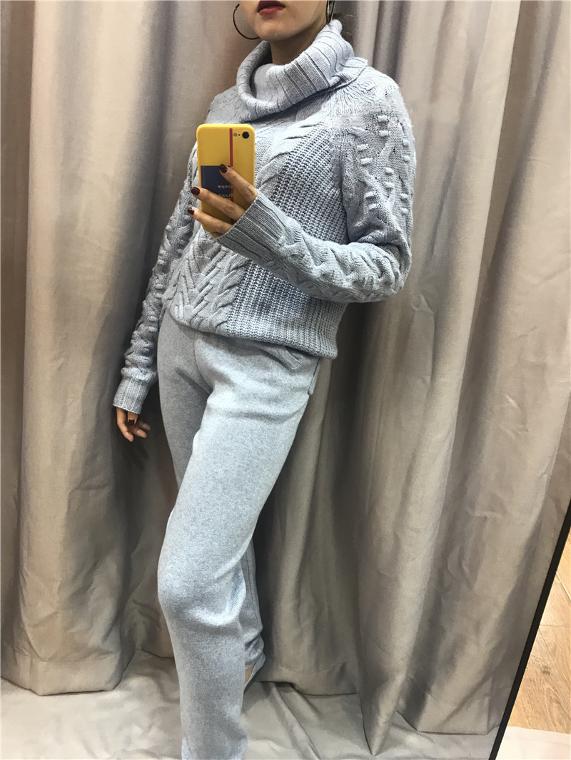 Knitted Special Offer Full 2 Piece Suit Female 2018 New Thick High Collar Casual Cashmere Sweater And Pants Two Sets Of Women