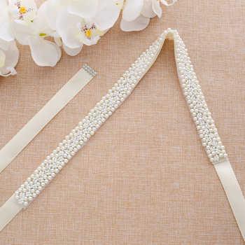 s204 Elegant Handmade Pearls Beaded Bridal Belts Pearl Sash Wedding Dress Accessories Evening Party Belt