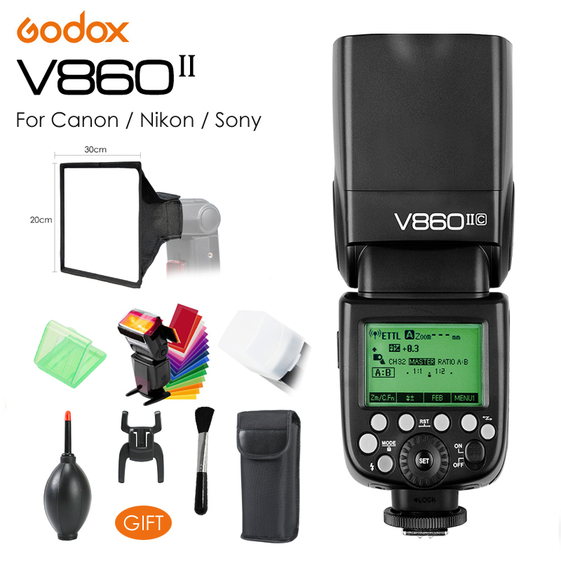 Godox Ving V860II V860IIC / V860IIN / V860IIS TTL HSS 1/8000 w/ Li-ion Battery Speedlite Flash for Canon Nikon Sony DSLR + Gift godox v860ii v860iic ttl hss 1 8000s li battery camera flash speedlite 2 4g with x1t c softbox for canon 60d 650d 80d dslr gift