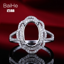BAIHE Solid 10K White Gold Certified Oval cut Engagement Women Trendy Fine Jewelry Elegant unique Semi Mount Ring