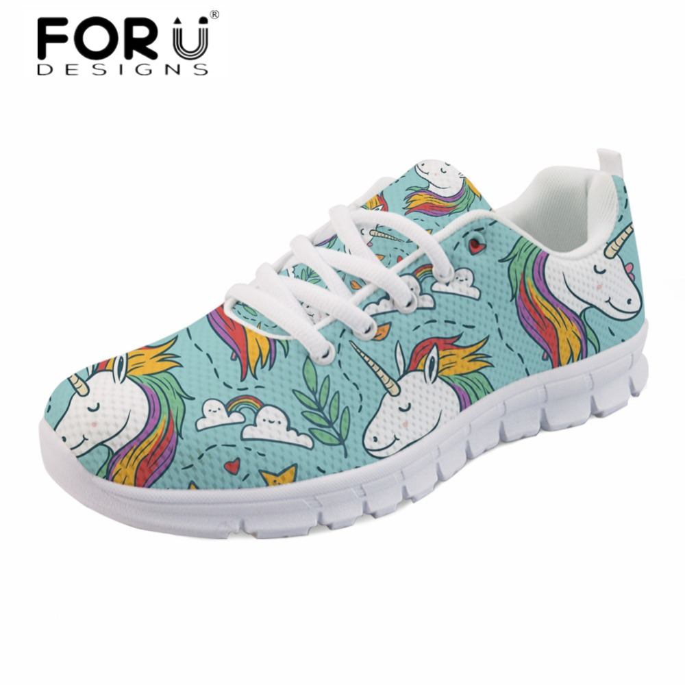 FORUDESIGNS New Women Breathable Flats Cute Unicorn Casual Mesh Comfortable Sneakers Spring Outside Walking flat Shoes for Girls forudesigns fashion women flat shoes female teens girls floral print casual flats breathable walking shoes for woman plus size