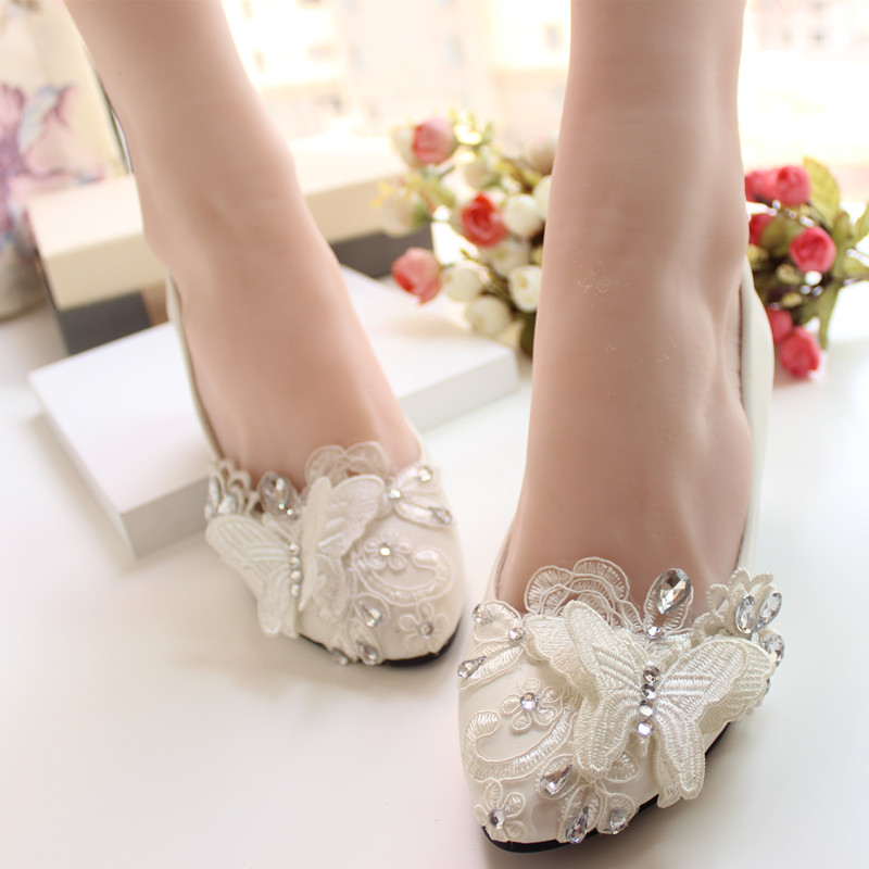 0b6b330d7ea White handmade Wedding Shoes bride Wedding Shoes three dimensional Lace Bow Rhinestone  bridesmaid Shoes formal dress Shoes Pumps-in Women s Pumps from Shoes ...