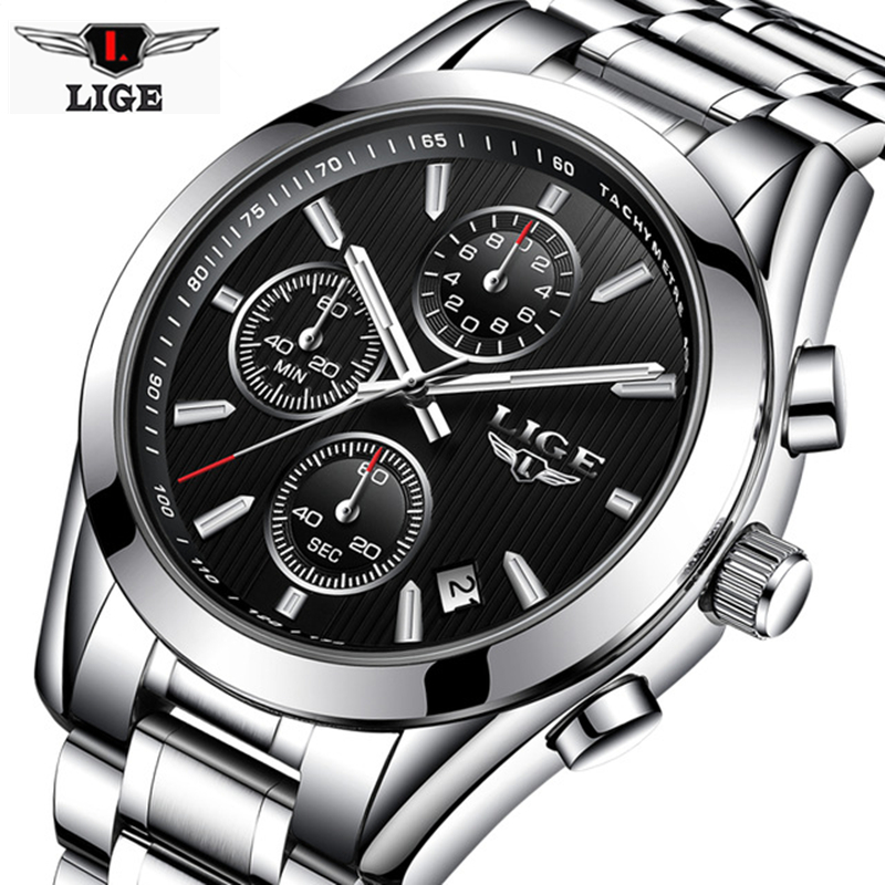 LIGE Mens Watches Top Brand Luxury Fashion Business Quartz Watch Men Sport Full Steel Waterproof Clock Man+box relogio masculino xinge top brand luxury leather strap military watches male sport clock business 2017 quartz men fashion wrist watches xg1080